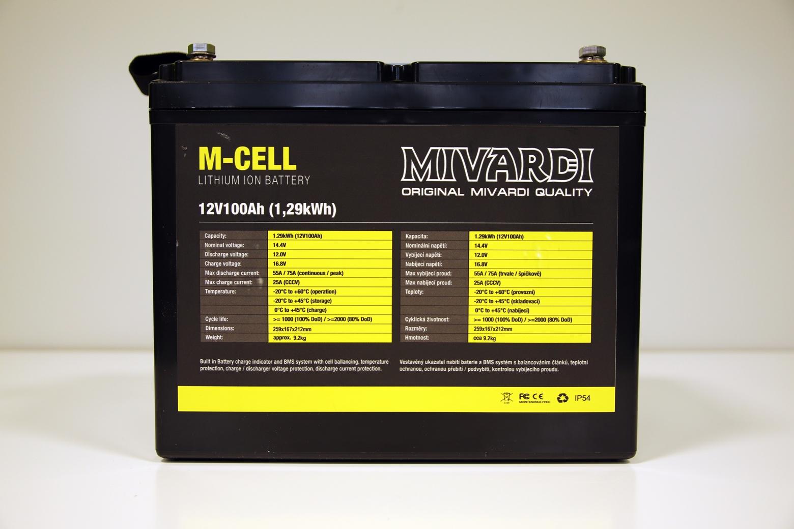Lithiová baterie M-CELL 12V 100Ah + 20A nabíječka