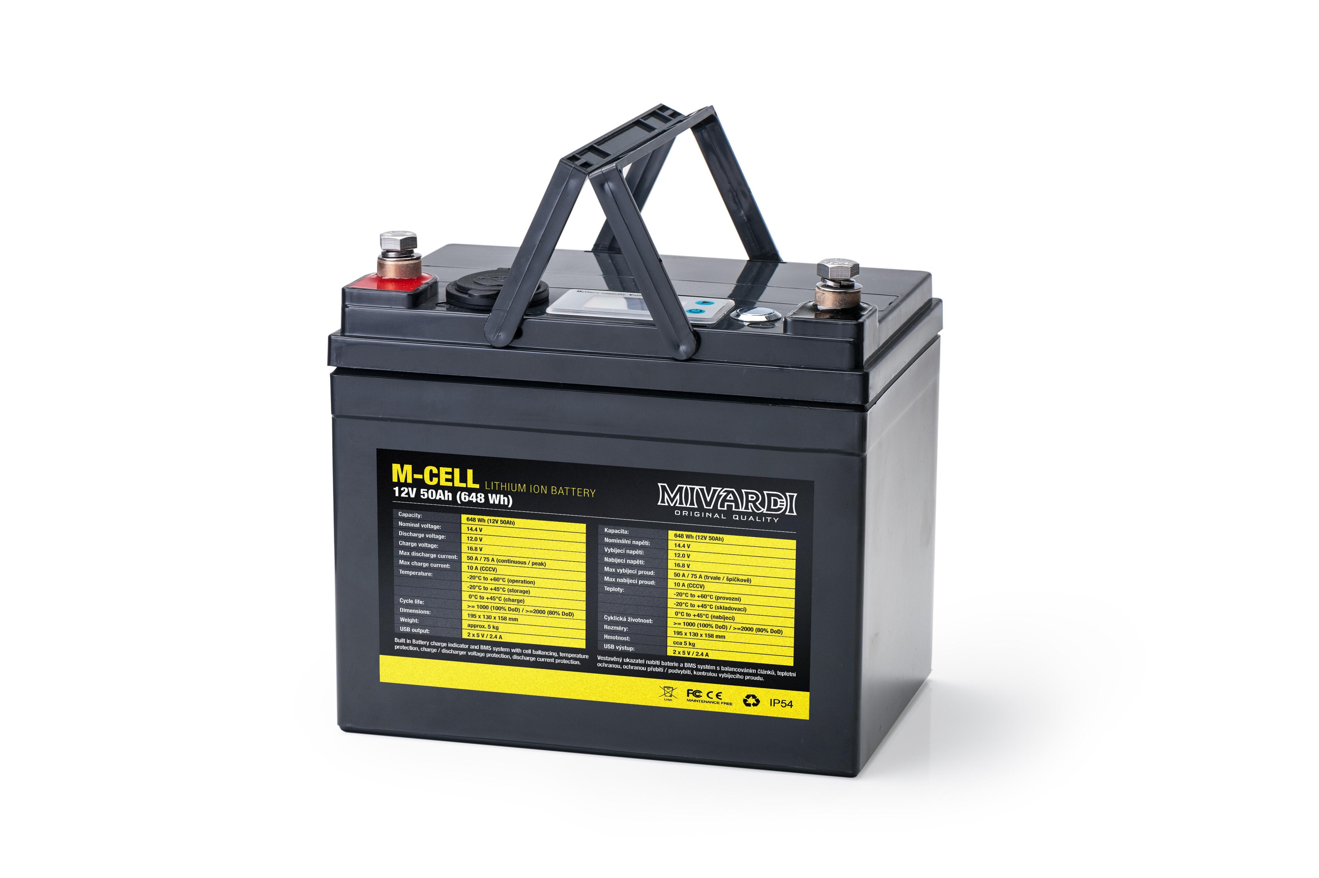 Lithiová baterie M-CELL M-CELL 12V 50Ah + 10A nabíječka